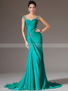 V Neck Chiffon Trumpet Evening Dress with Rhinestone Waist. love the neckline!!!