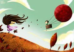 Entendió que subido al globo ascendieran imágenes de ella, para anidar por siempre atesorando recuerdos que narran su vida en él.