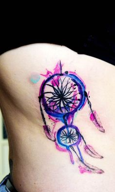 Dream catcher watercolor side tattoo for girls - side tattoos for girls