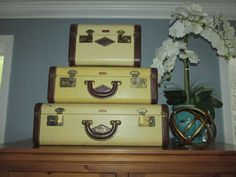 Vintage Lincoln Zephyrweight Luggage Set of 3 Graduated Stackable Suitcase Set