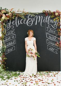 Green and white fall wedding ideas booth ideas photo booth and chalkboard backdrop florals but painted with gray chalk paint for a softer look wedding altarswedding decorwedding ideaswedding hair solutioingenieria Images