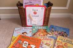 Make a Back to School Basket along with a Back to School Countdown and fill it with all kinds of books about school to get your kids ready for the new school year!