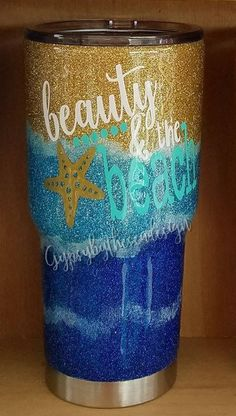Glitter beach themed 30 ounce RTIC tumbler with beauty & Diy Tumblers, Custom Tumblers, Glitter Tumblers, Glitter Glasses, Glitter Cups, Vinyl Crafts, Vinyl Projects, Rtic Cups, Ozark Tumbler