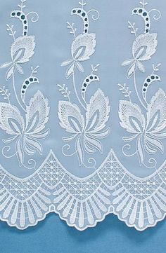 Winfarthing is a white net curtain with a beautiful satin embroidery. Border Embroidery Designs, White Embroidery, Machine Embroidery Designs, Embroidery Stitches, Hand Embroidery, White Lace Curtains, Net Curtains, Lace Painting, Paper Lace