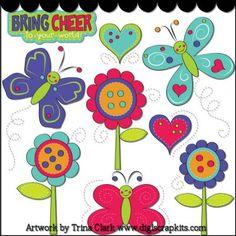 Bouncy Butterflies 1 Clip Art - Original Artwork by Trina Clark