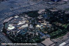 This 1974 aerial view shows Disneyland in its vintage prime. The Haunted Mansion and Pirates of the Caribbean are part of the landscape, a...