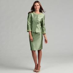 Tahari ASL Tahari Women's Sage Green Beaded Skirt Suit