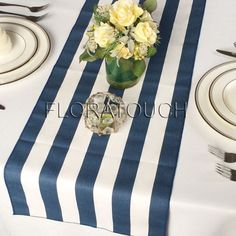Navy And White Stripe Table Runner With Navy Stripes On The Borders