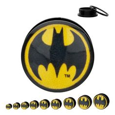 """Batman 316L Surgical Steel Screw Fit Double Flare Plugs - 1/2"""" (12mm) - Sold as a Pair - Official Licensed Product WickedBodyJewelz - Plugs - Double Flare. $16.95"""