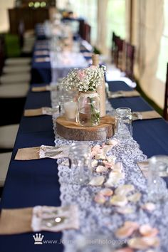 lace wedding decorations centerpiece from our wedding navy blue jars filled 5375