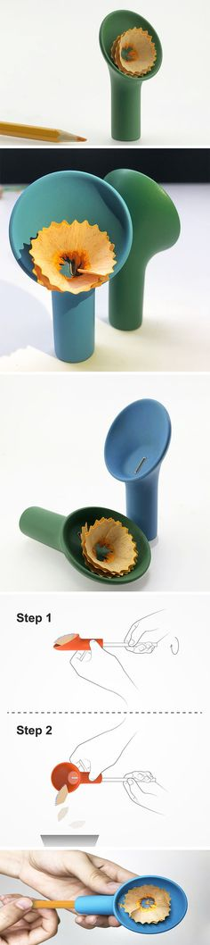 This pencil sharpener by Di Lu serves as an extra hand to catch and collect shavings so they can be easily discarded. Users can collect shavings throughout the day rather than walk over to the waste bin each time. Just place the soft topper over the pencil and twist as you would with a traditional sharpener!