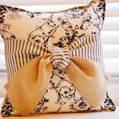 Burlap Bow Pillow With Vintage Toile And French Ticking by Laura Hinkes