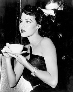 Ava Gardner enjoying a cup of coffee. I know this is how I look in the morning when I go for that first cup.....