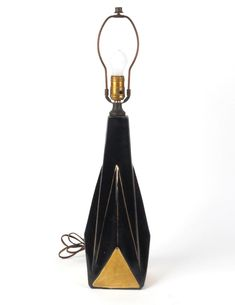 Mid century modern table lamp black gold ceramic vtg retro no shade #midcentury #MCM #midcenturymodern #homedecor #lamps #black #gold #blackandgold