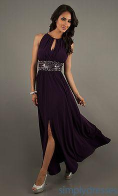 Long Sleeveless Bead Embellished Dress at SimplyDresses.com