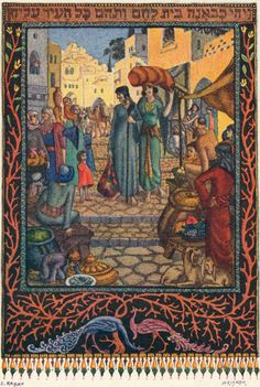 Ze'ev Raban The Story of Ruth Ze'ev Raban (1890-1970) moved to Israel from Poland in 1912 and joined the faculty of the newly founded Bezalel School of Art in Jerusalem. One of the school's leading artists and teachers, he combined European Art Nouveau with traditional Persian and Syrian styles in his art. The scene on view of Ruth and Naomi arriving in Bethlehem presents an excellent example of that style. Traditionally read on the festival of Shavuot (Pentecost), the Book of Ruth