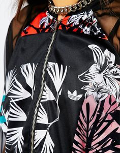 Image 3 of adidas Originals Bomber In Sheer Mixed Floral