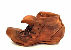 "Old Wooden Shoe Hand Carved 'The Whittlers' Unsigned Leather Lace 5"" Long"