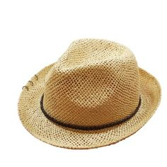 9a5b9306 Men's Summer Hat Beige Straw Panama Hats with Cool Copper Ring Sun Good  choice for men