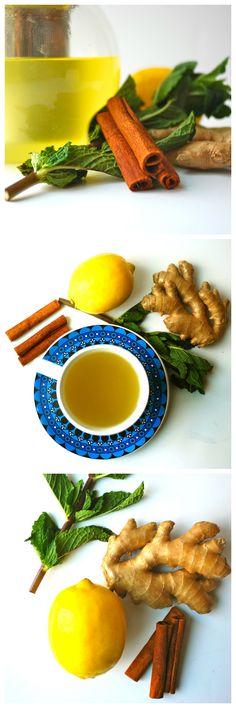My favorite natural flu fighter. Homemade ginger tea with lemon, mint and black…