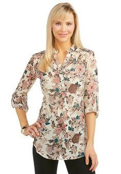 05594c417cbec8 Cato Fashions Sheer Rose Popover Top  CatoFashions Your Style