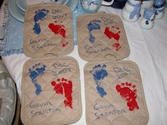 Footprint potholders! Another great idea for grandparents! :)