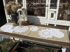 Reserved 4 Maryjane ...Burlap and Lace Table Runner ...Vintage 1940s WWII Linen Burlap - Triple White Ruffles - Rustic Romance. $62.50, via Etsy.