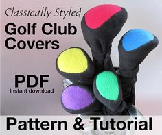 Golf Club Head Covers Sewing Pattern Classic by GulfstreamCottage Golf Headcovers, New Golf Clubs, Golf Club Head Covers, Golf Drivers, Golf Lessons, Golf Accessories, Couture, Sewing Basics, Golf Tips