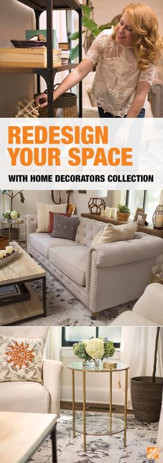 See how style blogger Lesley Graham's living room was totally transformed with a few pieces of Home Decorators Collection furniture and decor like the Gordon Tufted Sofa in Natural Linen and the vintage-inspired Anjou Coffee Table. Click for ideas and inspiration on how to get a great value on your own decor makeover using Home Depot's Home Decorators Collection.