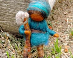 Needle felted Wool Gnome Oak Forest Gnome by Rebecca von Nushkie