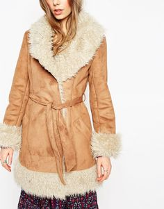 Image 3 of ASOS Coat in 70s Style Faux Shearling