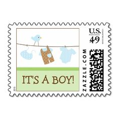 Boy Laundry Baby Announcement Stamp (green)