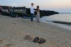 """Engagement photo. Flip flops on the beach www.timetosparklephotography.com  For more ideas """"Like Us"""" at https://www.facebook.com/pages/Time-to-Sparkle-Photography-LLC/215052625232087?ref=br_rs"""