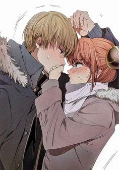 Okita Sōgo e Kagura - Anime: Gintama Romantic Anime Couples, Anime Couples Drawings, Anime Couples Manga, Manga Anime, Anime Couples Cuddling, Anime Couples Hugging, Fanarts Anime, Anime Characters, Kawaii Anime