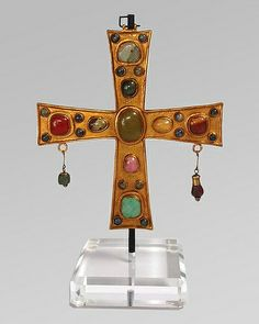 Votive Cross 629 Visigothic, gold gilt over metal, semi-precious stones
