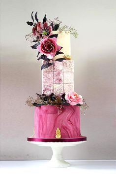 """Still looking for an unique wedding-cake? If your answer """"yes"""", we have some incredible ideas for such non-usual wedding cakes as stained-glass cakes. Wedding Cake Prices, Floral Wedding Cakes, Fall Wedding Cakes, Floral Cake, Wedding Cupcakes, Purple Wedding, Lace Wedding, Amazing Wedding Cakes, Unique Wedding Cakes"""