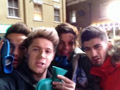 "Okay, so we got 4/5 selfies and Picture of Liam, now we need Harry! Anyways, Niall Horan Twitter: ""Found This On My Phone, From The Midnight Memories Video Shoot, It Was Freezing, I Think Harry Was In The Toilet!"" Of course Harry would be. Boys! Teach Harry how to take a selfie! And 1 more thing there selfies. Woo!"