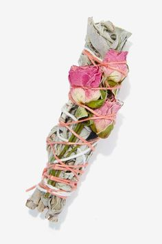 Smudge Stick with garden herbs and flowers... Ours have home grown: rose petals, lavender, mugwort, white sage, cedar (from a fallen tree in Tahoe), and garden sage.