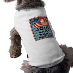 Join Army, Navy, Marines WPA 1917 Dog Clothing $21.95 -Vintage Join Army, Navy, Marines Poster from 1917.