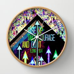 RISE UP TAKE COURAGE AND DO IT Colorful Geometric Floral Abstract Painting Christian Bible Scripture Wall Clock by The Faithful Canvas - $30.00 #clock #wallclock #artclock #decor #kitchen #home #decoration #decorative #homedecor #scripture #Bible #Jesus #inspiration #motivation #courage #arrows #painting #fineart #floral #geometric #typography #stylish #trendy #faith #colorful #dormroom #God