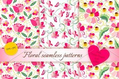 Set of floral seamless patterns Graphics 9 beautiful seamless floral patterns. The set perfect for backgrounds, scrapbooking, card and webdes by Happy Dragon`s shop