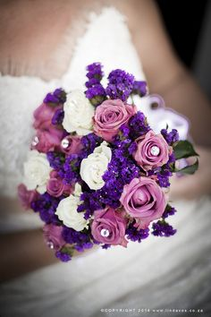 What a wet but wonderful small town wedding in Ottosdal we had! The day started off as a hot one, but as soon as the ceremony was underway, the rain poured down. Pink Bouquet, Wedding Gallery, Bridal Bouquets, Dusty Pink, Purple, Bride Bouquets, Wedding Bouquets, Dusty Rose, Purple Stuff