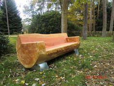 houten banking Met het begin van het buit - banking Tree Stump Furniture, Trunk Furniture, Rustic Outdoor Furniture, Garden Furniture, Outdoor Decor, Wood Bench Plans, Diy Bench, Garden In The Woods, Woodworking Projects Diy
