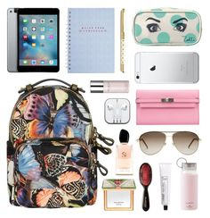 """""""Backpack Style"""" by chavbee ❤ liked on Polyvore featuring Valentino, Kate Spade, Zoella Beauty, Hermès, Gucci, L:A Bruket, Valery Joseph, Armani Beauty, backpacks and contestentry"""