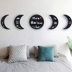 "Gibbous Nimbus Large 12.2"" Moon Phase Shelf Set (5 PCS) - Moon... Wall Mounted Wood Shelves, Hanging Shelves, Wooden Shelves, Display Shelves, Wall Shelves, Floating Shelves, Crystal Shelves, Crystal Wall, Moon Decor"