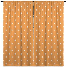 Orange Custom Window Coverings Draperies Curtains, Kids Window Treatments, Polka Dot Curtains, Curtain panel, Valance, Bathroom Curtains #59