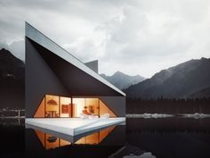 Bold Minimalist Design Concept-The Crown House by 81.WAW.PL | Homesthetics - Inspiring ideas for your home. A As Architecture, Beautiful Architecture, Residential Architecture, Contemporary Architecture, Exterior Design, Interior And Exterior, Room Interior, Cool House Designs, Decor Interior Design
