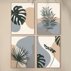 Small Canvas Paintings, Diy Canvas Art, Diy Wall Art, Cuadros Diy, Gold Leaf Art, Abstract Geometric Art, Plant Art, Botanical Art, Printable Art