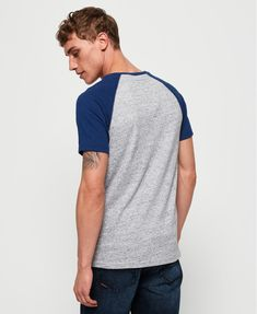 Shop Superdry Mens Track & Field Baseball T-Shirt in Grey Marl/sonic Blast Blue. Buy now with free delivery from the Official Superdry Store. Sonic Blast, Superdry Mens, Baseball T, Great T Shirts, Track And Field, Fabric Material, Tank Man, Grey, Mens Tops