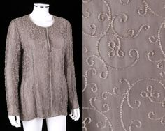 CALVIN KLEIN COLLECTION TAUPE GRAY LONG SLEEVE BEADED EVENING JACKET TOP SZ M #CalvinKlein #Blouse #Formal